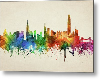 Hong Kong Skyline Chhk05 Metal Print by Aged Pixel