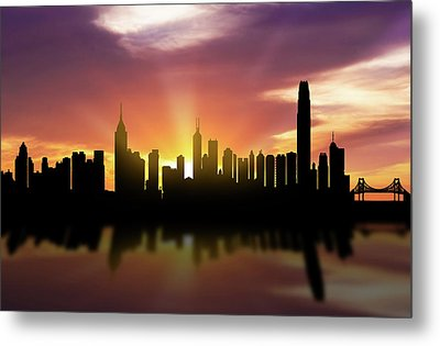 Hong Kong Skyline Sunset Chhk22 Metal Print by Aged Pixel