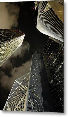 Hong Kong Skyscrapers At Night Metal Print by Sami Sarkis