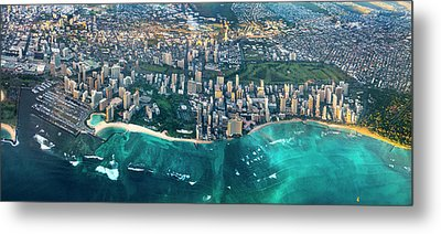 Honolulu From High Metal Print by Sean Davey