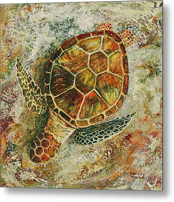 Metal Print featuring the painting Honu On The Beach by Darice Machel McGuire