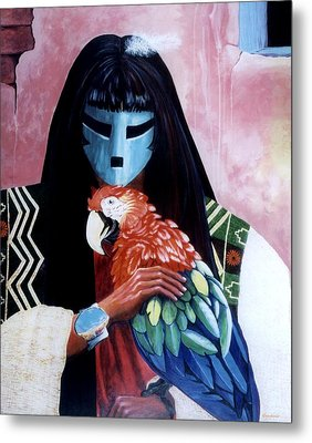 Hopi Dances And The Red Macaw Metal Print by Anastasia Savage Ealy