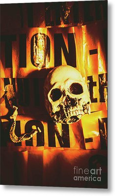 Horror Skulls And Warning Tape Metal Print by Jorgo Photography - Wall Art Gallery
