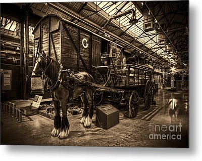 Horse And Cart Loading Train Metal Print