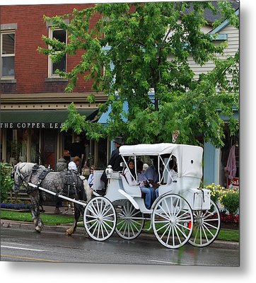 Metal Print featuring the photograph Horse And White Buggy by Nancy Bradley