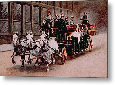 Horse-drawn Fire Engine On The Way Metal Print by Everett
