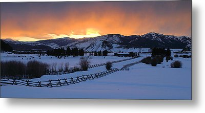 Horse Farm At Sunset Metal Print by Stephen  Vecchiotti