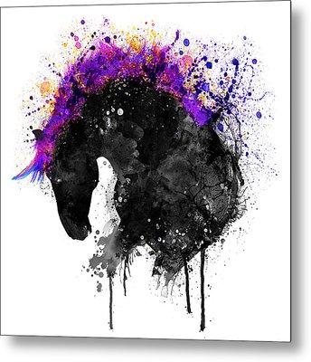 Horse Head Watercolor Silhouette Metal Print