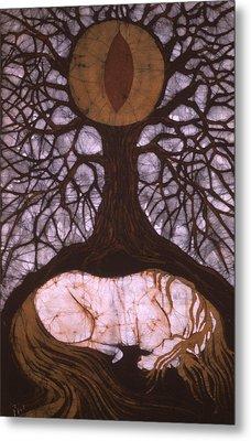 Horse Sleeps Below Tree Of Rebirth Metal Print