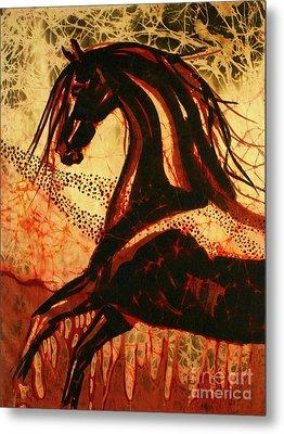 Horse Through Web Of Fire Metal Print by Carol Law Conklin