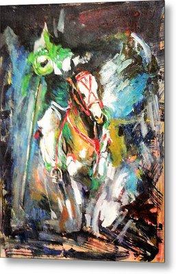 Horse,horseman And The Target Metal Print
