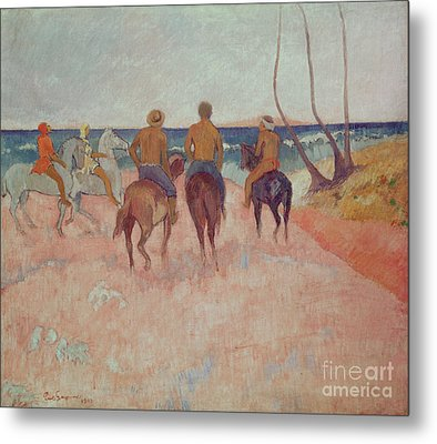 Horseman On The Beach Metal Print by Paul Gauguin
