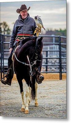 Horseman With Gyr Falcon 4731vt Metal Print by Doug Berry