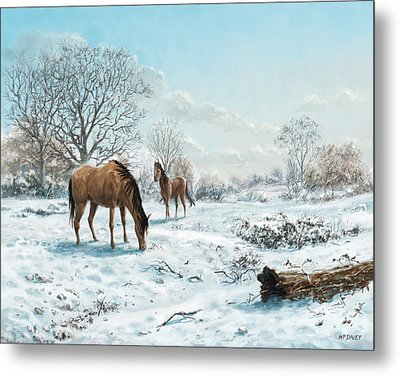 Metal Print featuring the digital art Horses In Countryside Snow by Martin Davey