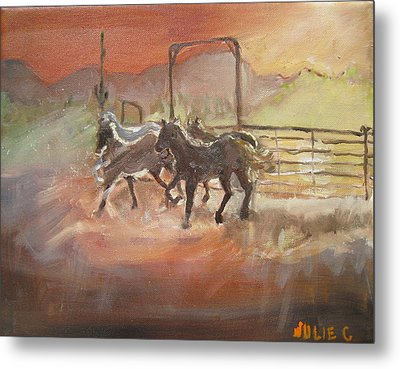 Metal Print featuring the painting Horses by Julie Todd-Cundiff
