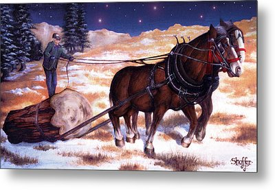 Horses Pulling Log Metal Print by Curtiss Shaffer