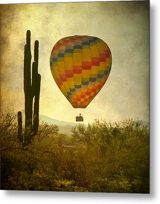 Hot Air Balloon Flight Over The Southwest Desert Metal Print by James BO  Insogna