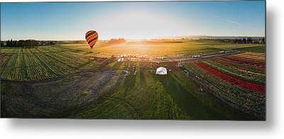 Metal Print featuring the photograph Hot Air Balloon Taking Off At Sunrise by William Lee