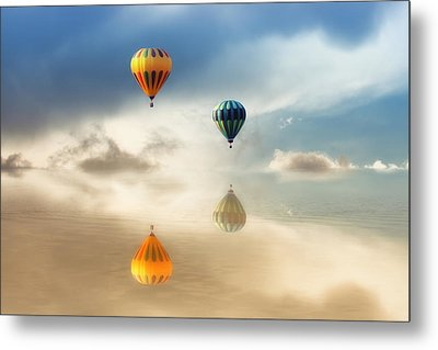 Hot Air Balloons Water Reflections Metal Print