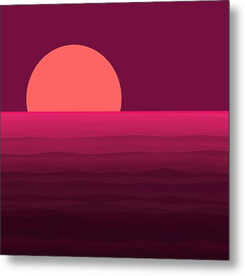 Hot Pink Sunset Metal Print by Val Arie