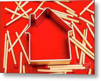 House Fire Warning Metal Print by Jorgo Photography - Wall Art Gallery