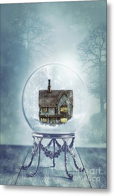 House In Glass Crystal Ball Metal Print