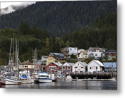 Houses Line Ketchikan Harbor Metal Print by Melissa Farlow