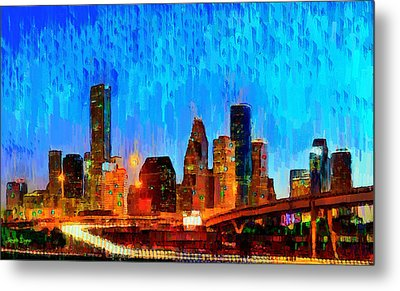 Houston Skyline 110 - Da Metal Print by Leonardo Digenio