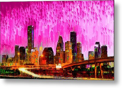 Houston Skyline 114 - Da Metal Print by Leonardo Digenio