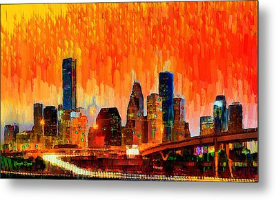 Houston Skyline 116 - Pa Metal Print by Leonardo Digenio