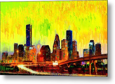 Houston Skyline 120 - Da Metal Print