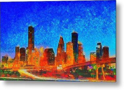 Houston Skyline 130 - Da Metal Print
