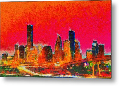 Houston Skyline 136 - Pa Metal Print