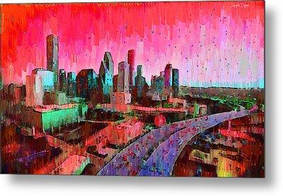 Houston Skyline 33 - Da Metal Print