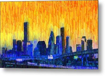 Houston Skyline 82 - Da Metal Print by Leonardo Digenio