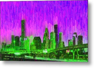 Houston Skyline 89 - Da Metal Print by Leonardo Digenio