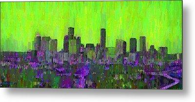 Houston Skyline Night 53 - Da Metal Print by Leonardo Digenio