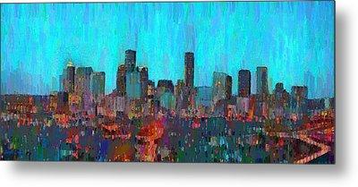 Houston Skyline Night 55 - Da Metal Print by Leonardo Digenio