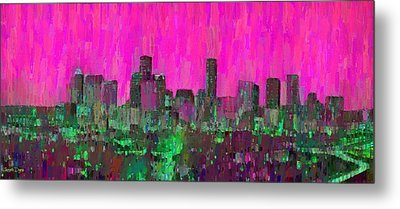 Houston Skyline Night 57 - Pa Metal Print