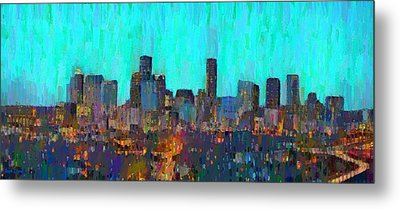 Houston Skyline Night 65 - Pa Metal Print by Leonardo Digenio