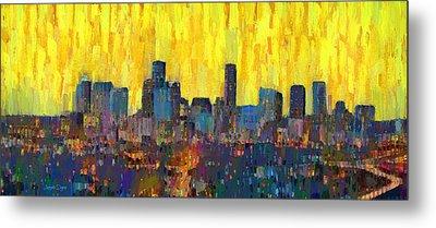 Houston Skyline Night 66 - Da Metal Print by Leonardo Digenio