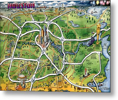 Houston Texas Cartoon Map Metal Print