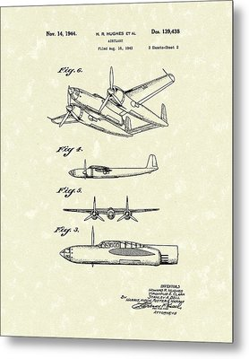 Howard Hughes Airplane 1944 Patent Art  Metal Print