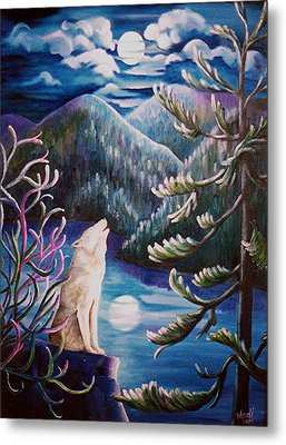 Metal Print featuring the painting Howlin' The Blues by Renate Nadi Wesley