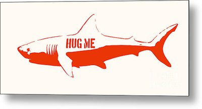 Hug Me Shark Metal Print by Pixel Chimp