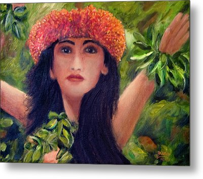 Hula Dancer Kahiko #422 Metal Print by Donald k Hall
