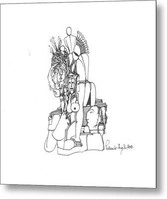 Human Forms Faces And Some Rocks Metal Print by Padamvir Singh