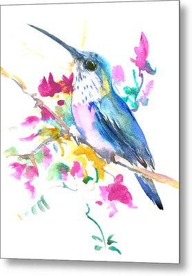 Hummingbird And Pink Purple Flowers Metal Print by Suren Nersisyan