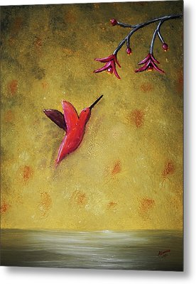 Metal Print featuring the painting Hummingbird by Edwin Alverio