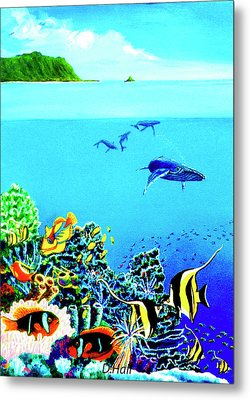 Humpback Whales, Reef Fish #252 Metal Print by Donald k Hall